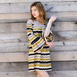 Striped Metallic Knit Dress